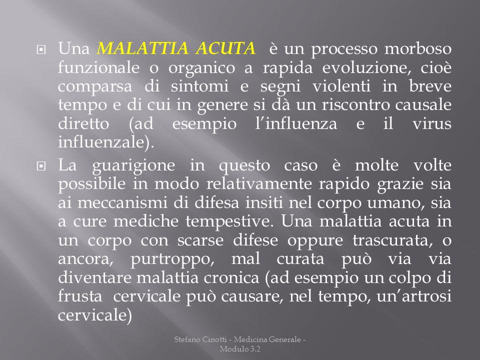 Stefano Cinotti - Medicina Generale - Modulo 3.2 Una MALATTIA ACUTA è un processo morboso funzionale o organico a rapida evoluzione, cioè comparsa di