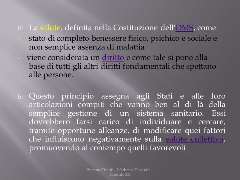 Stefano Cinotti - Medicina Generale - Modulo 3.2 La salute, definita nella Costituzione dell'OMS, come:OMS - stato di completo benessere fisico, psich