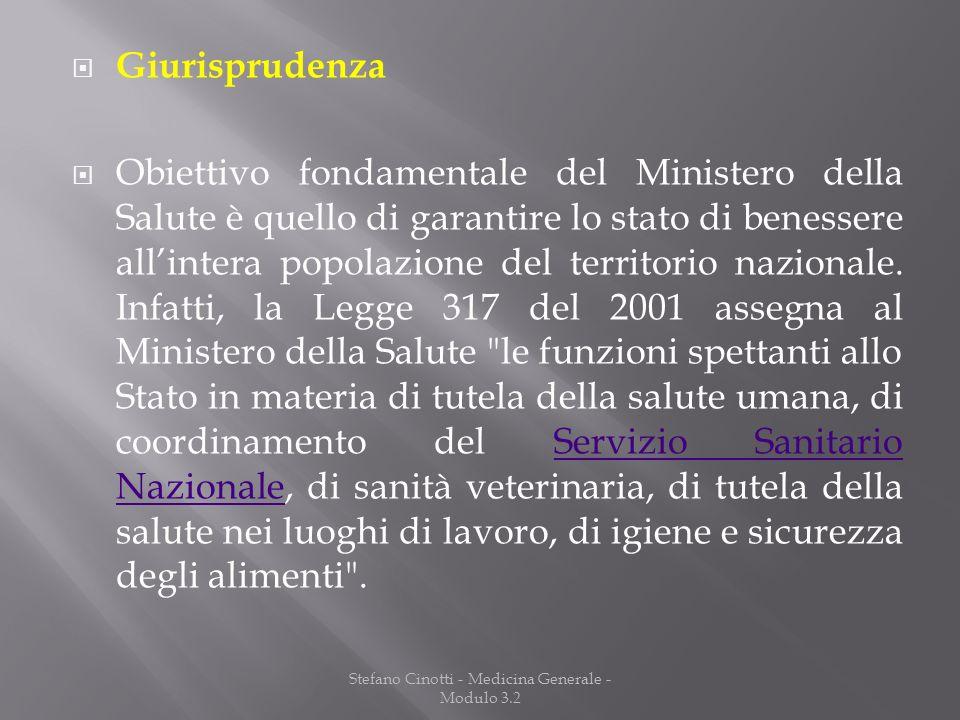 Stefano Cinotti - Medicina Generale - Modulo 3.2 Giurisprudenza Obiettivo fondamentale del Ministero della Salute è quello di garantire lo stato di be