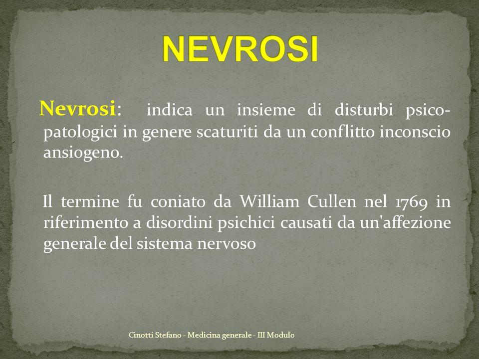 Cinotti Stefano - Medicina generale - III Modulo Nevrosi: indica un insieme di disturbi psico- patologici in genere scaturiti da un conflitto inconsci