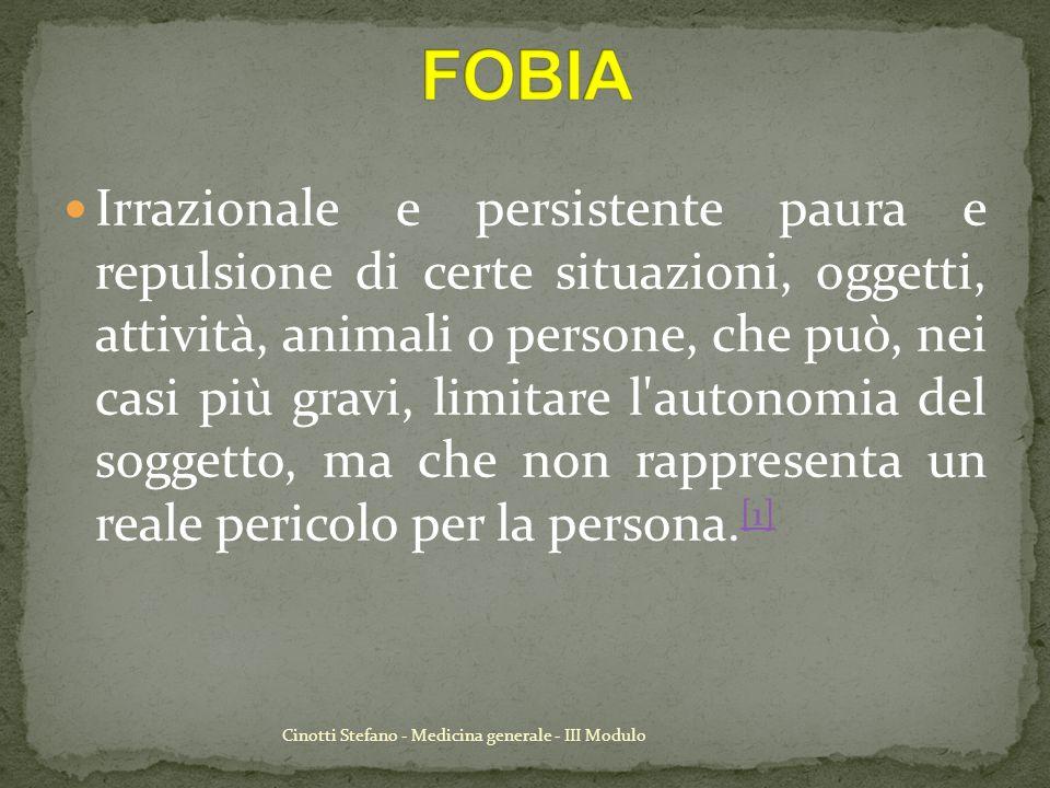 Cinotti Stefano - Medicina generale - III Modulo Il sintomo principale di questo disturbo è l irrefrenabile desiderio di evitare l oggetto che incute timore.