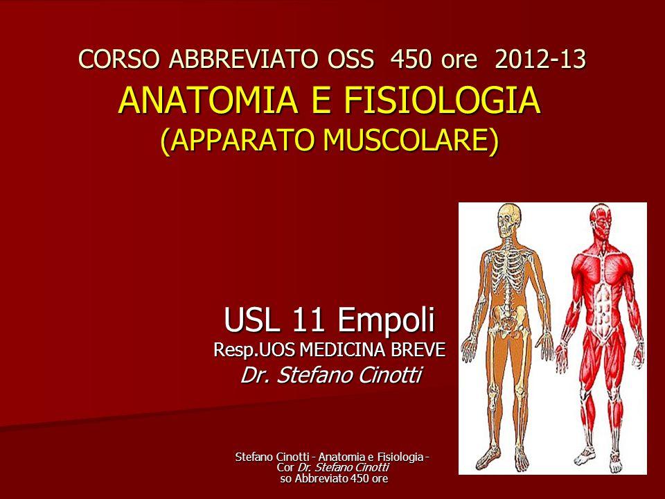 Stefano Cinotti - Anatomia e Fisiologia - Cor Dr. Stefano Cinotti so Abbreviato 450 ore CORSO ABBREVIATO OSS 450 ore 2012-13 ANATOMIA E FISIOLOGIA (AP