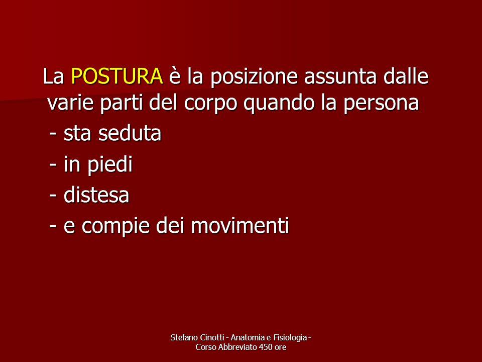Stefano Cinotti - Anatomia e Fisiologia - Corso Abbreviato 450 ore La POSTURA è la posizione assunta dalle varie parti del corpo quando la persona La