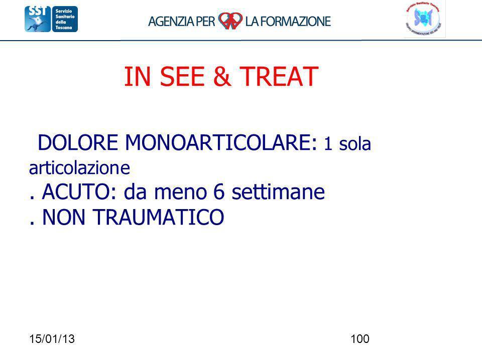 15/01/13100 IN SEE & TREAT DOLORE MONOARTICOLARE: 1 sola articolazione. ACUTO: da meno 6 settimane. NON TRAUMATICO