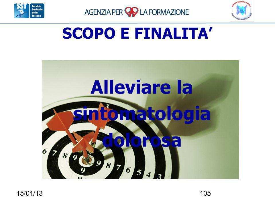15/01/13105 SCOPO E FINALITA Alleviare la sintomatologia dolorosa