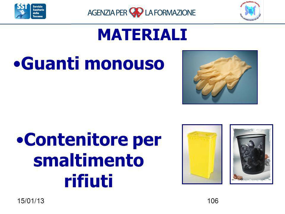 15/01/13106 MATERIALI Guanti monouso Contenitore per smaltimento rifiuti