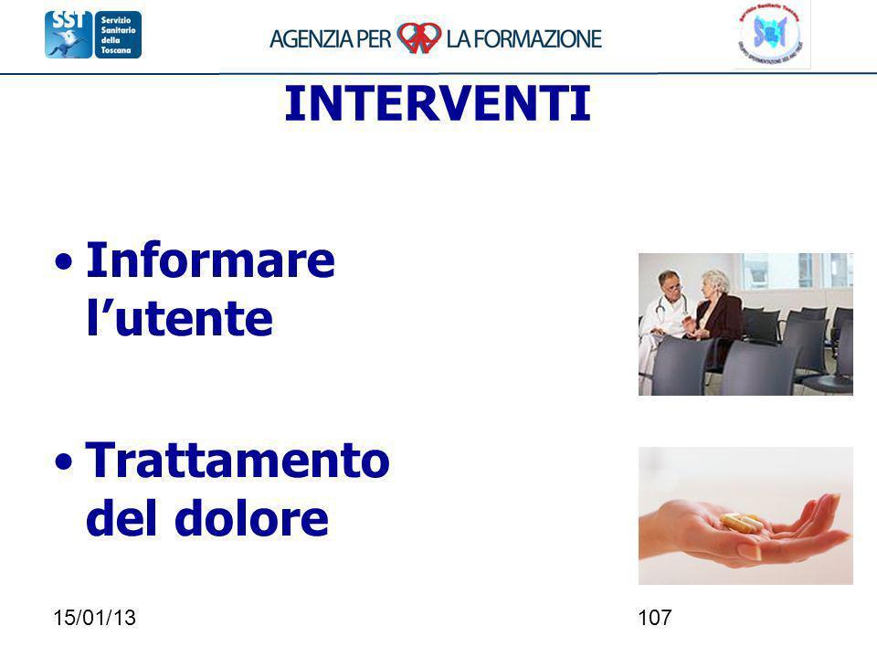 15/01/13107 INTERVENTI Informare lutente Trattamento del dolore