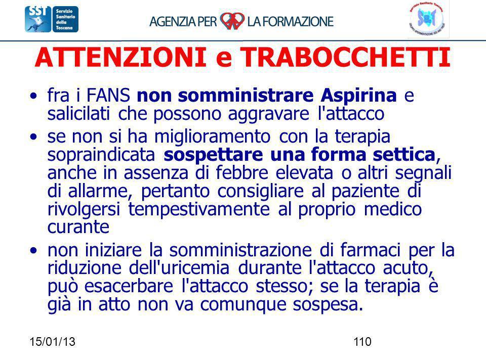 15/01/13110 ATTENZIONI e TRABOCCHETTI fra i FANS non somministrare Aspirina e salicilati che possono aggravare l'attacco se non si ha miglioramento co