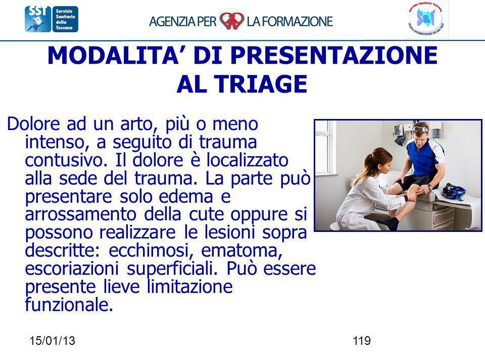 15/01/13119 MODALITA DI PRESENTAZIONE AL TRIAGE Dolore ad un arto, più o meno intenso, a seguito di trauma contusivo. Il dolore è localizzato alla sed