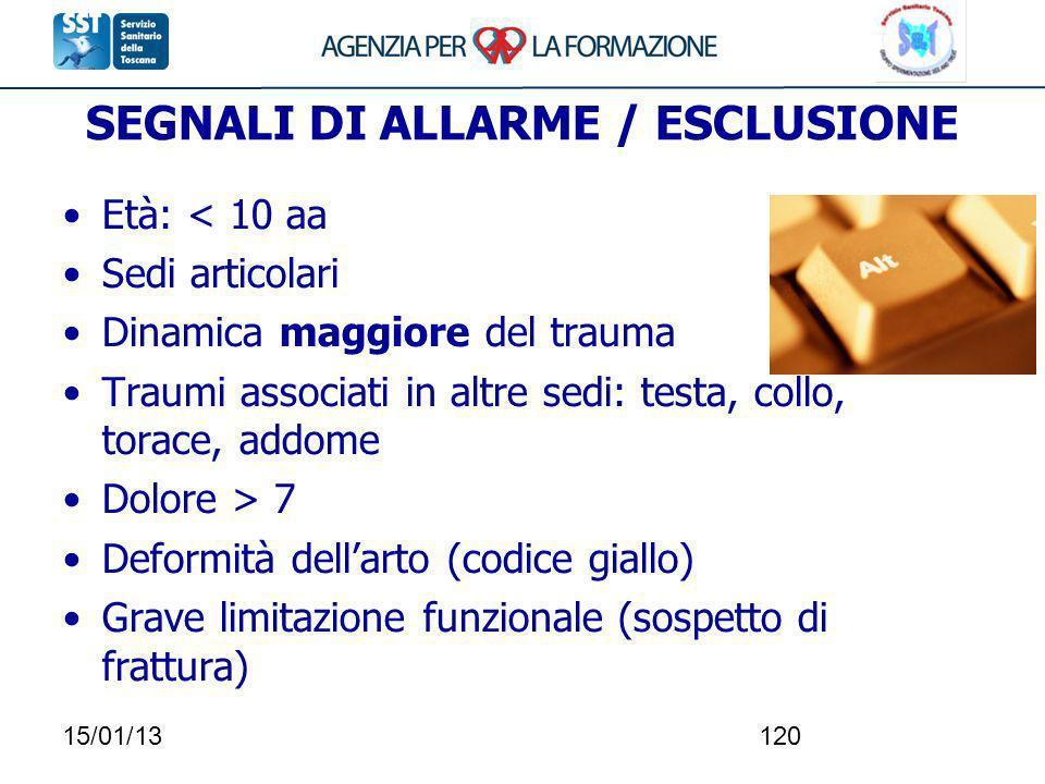 15/01/13120 SEGNALI DI ALLARME / ESCLUSIONE Età: < 10 aa Sedi articolari Dinamica maggiore del trauma Traumi associati in altre sedi: testa, collo, to