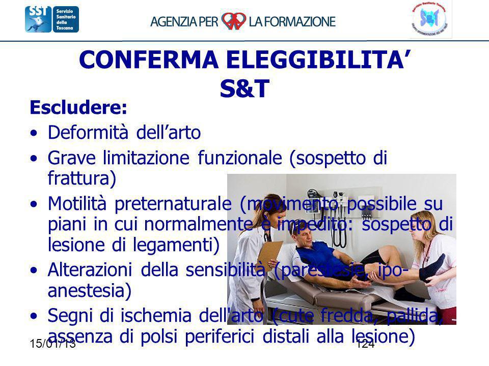 15/01/13124 CONFERMA ELEGGIBILITA S&T Escludere: Deformità dellarto Grave limitazione funzionale (sospetto di frattura) Motilità preternaturale (movim