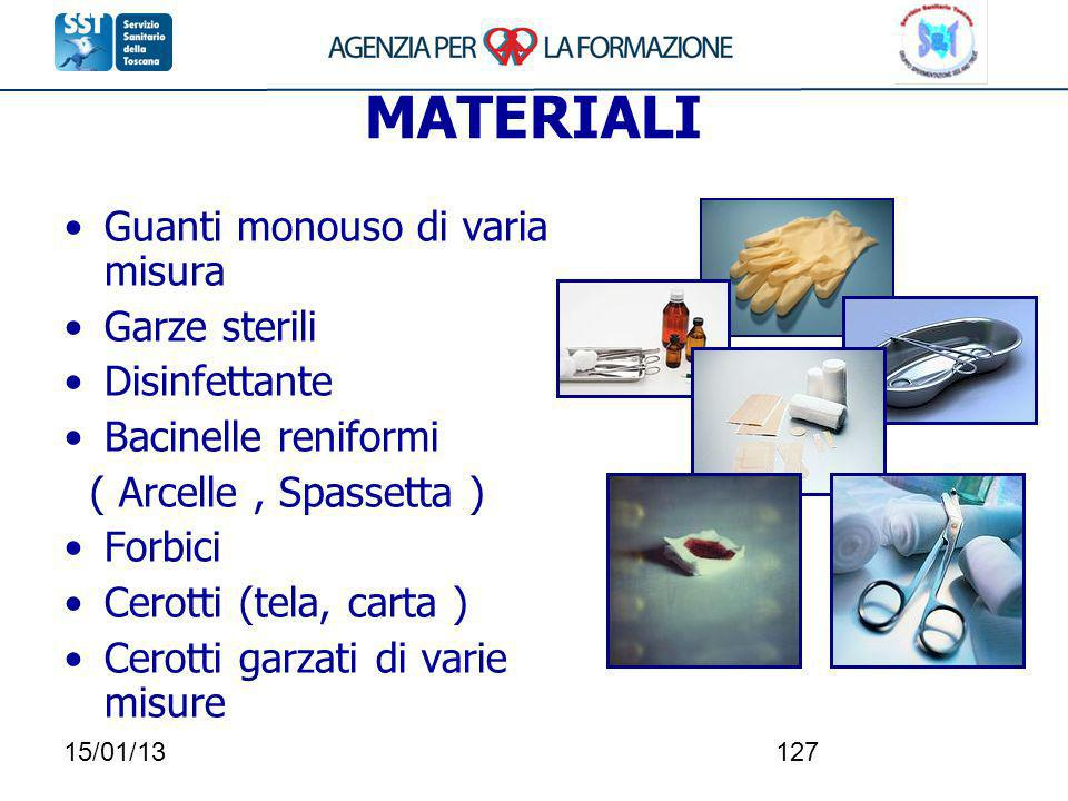 15/01/13127 MATERIALI Guanti monouso di varia misura Garze sterili Disinfettante Bacinelle reniformi ( Arcelle, Spassetta ) Forbici Cerotti (tela, car