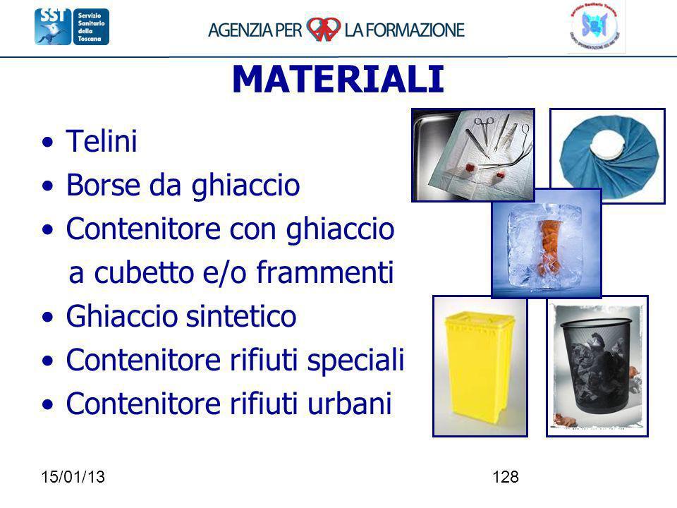 15/01/13128 MATERIALI Telini Borse da ghiaccio Contenitore con ghiaccio a cubetto e/o frammenti Ghiaccio sintetico Contenitore rifiuti speciali Conten