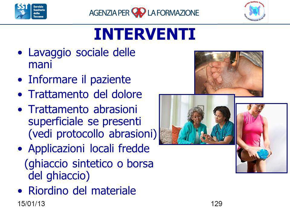 15/01/13129 INTERVENTI Lavaggio sociale delle mani Informare il paziente Trattamento del dolore Trattamento abrasioni superficiale se presenti (vedi p