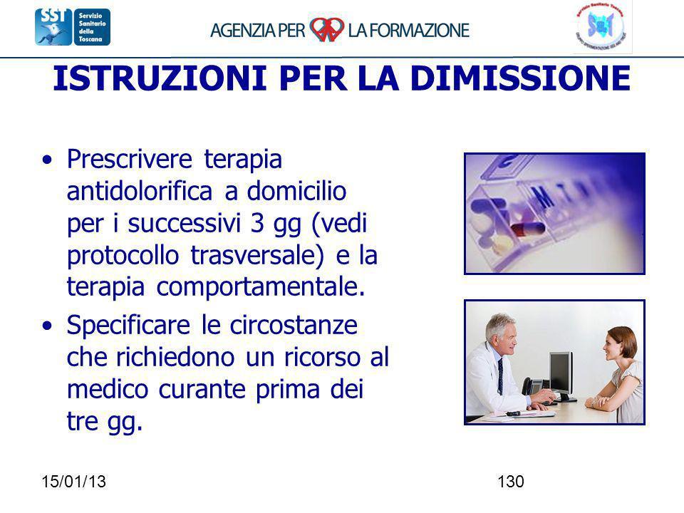 15/01/13130 ISTRUZIONI PER LA DIMISSIONE Prescrivere terapia antidolorifica a domicilio per i successivi 3 gg (vedi protocollo trasversale) e la terap