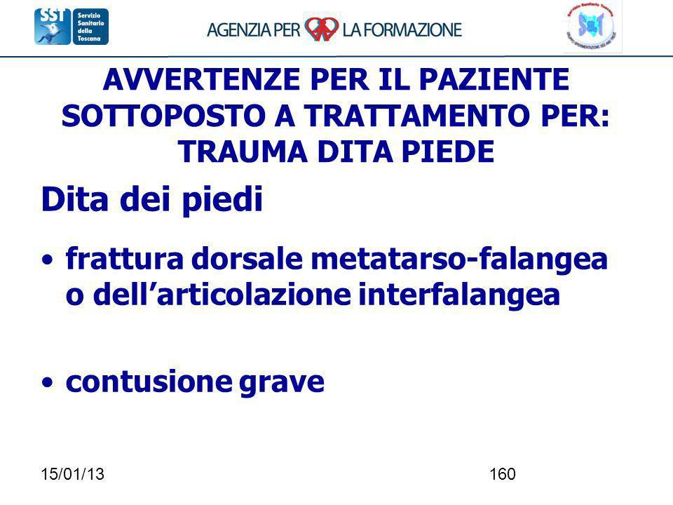 15/01/13160 AVVERTENZE PER IL PAZIENTE SOTTOPOSTO A TRATTAMENTO PER: TRAUMA DITA PIEDE Dita dei piedi frattura dorsale metatarso-falangea o dellartico