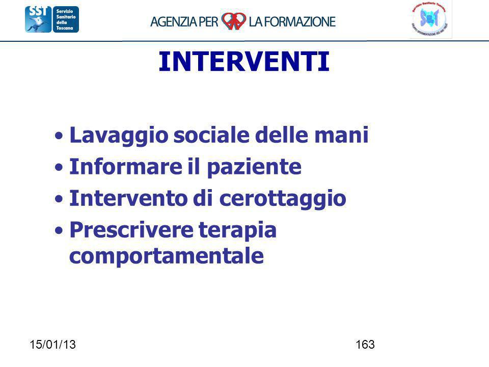 15/01/13163 INTERVENTI Lavaggio sociale delle mani Informare il paziente Intervento di cerottaggio Prescrivere terapia comportamentale