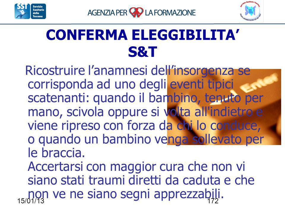 15/01/13172 CONFERMA ELEGGIBILITA S&T Ricostruire lanamnesi dellinsorgenza se corrisponda ad uno degli eventi tipici scatenanti: quando il bambino, te