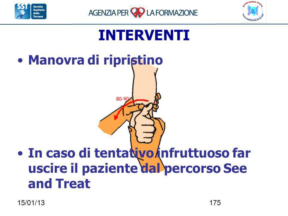 15/01/13175 INTERVENTI Manovra di ripristino In caso di tentativo infruttuoso far uscire il paziente dal percorso See and Treat