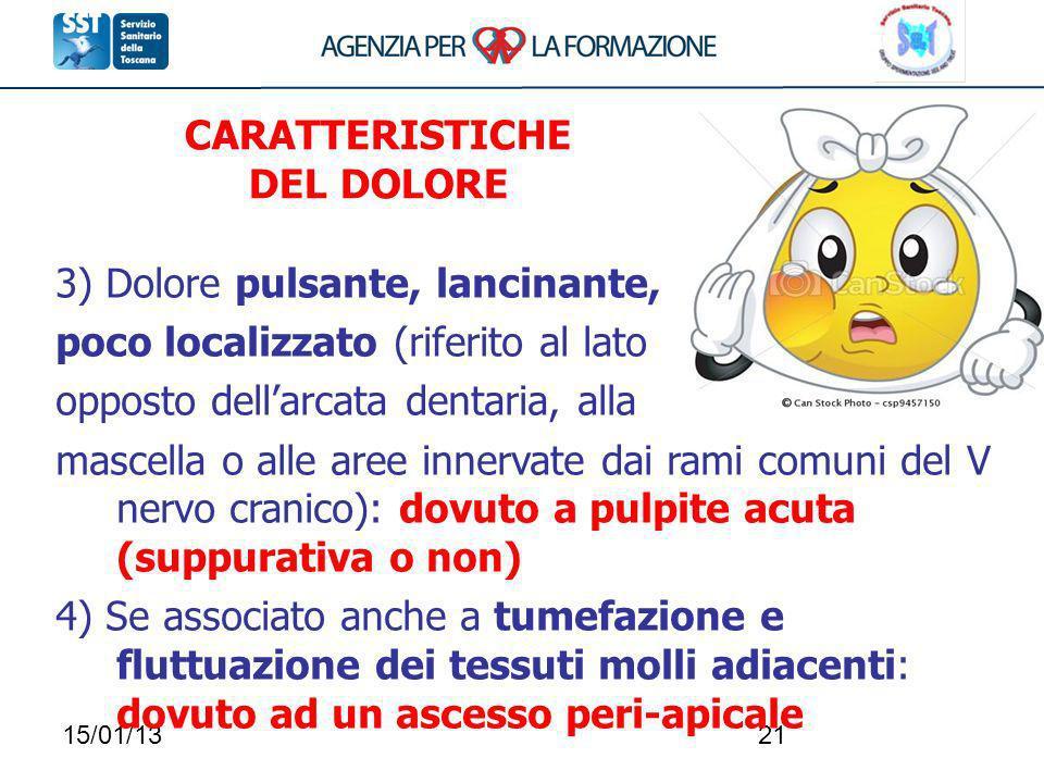15/01/1321 3) Dolore pulsante, lancinante, poco localizzato (riferito al lato opposto dellarcata dentaria, alla mascella o alle aree innervate dai ram