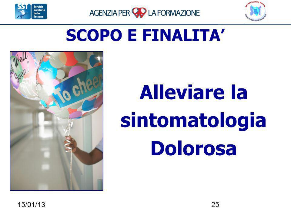 15/01/1325 SCOPO E FINALITA Alleviare la sintomatologia Dolorosa