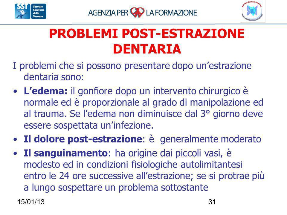 15/01/1331 PROBLEMI POST-ESTRAZIONE DENTARIA I problemi che si possono presentare dopo unestrazione dentaria sono: Ledema: il gonfiore dopo un interve