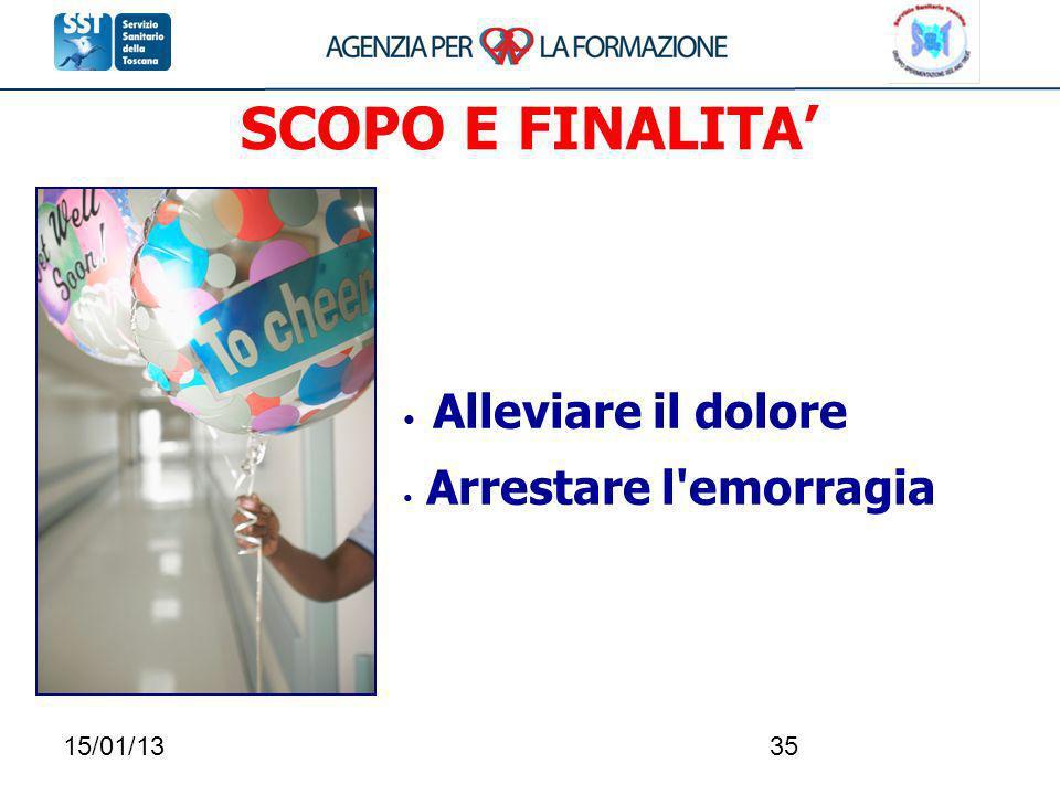 15/01/1335 SCOPO E FINALITA Alleviare il dolore Arrestare l'emorragia