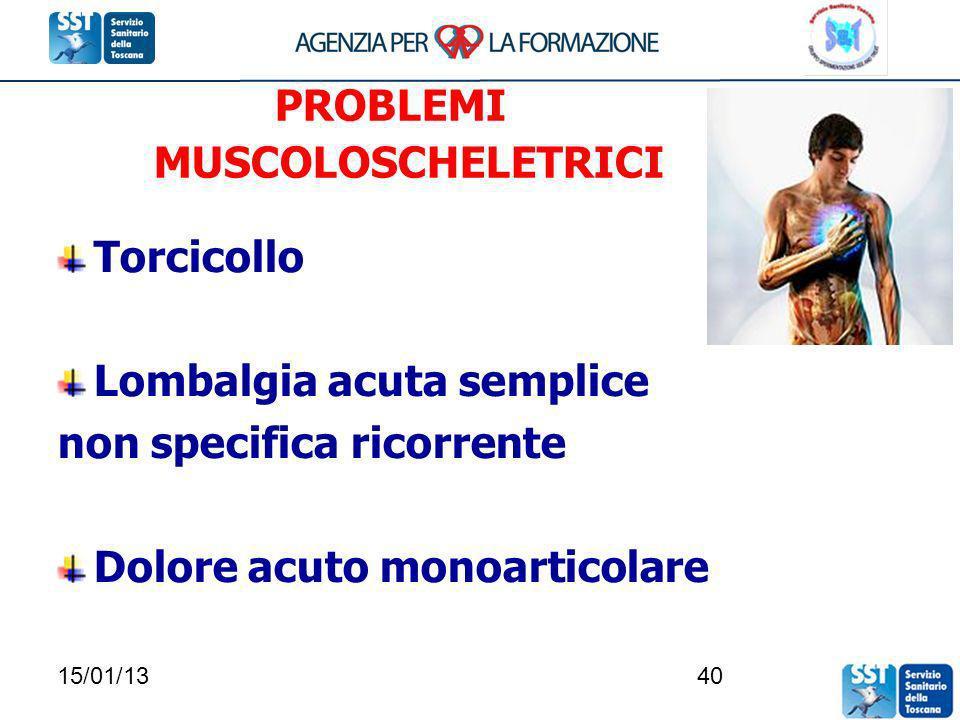 15/01/1340 PROBLEMI MUSCOLOSCHELETRICI Torcicollo Lombalgia acuta semplice non specifica ricorrente Dolore acuto monoarticolare