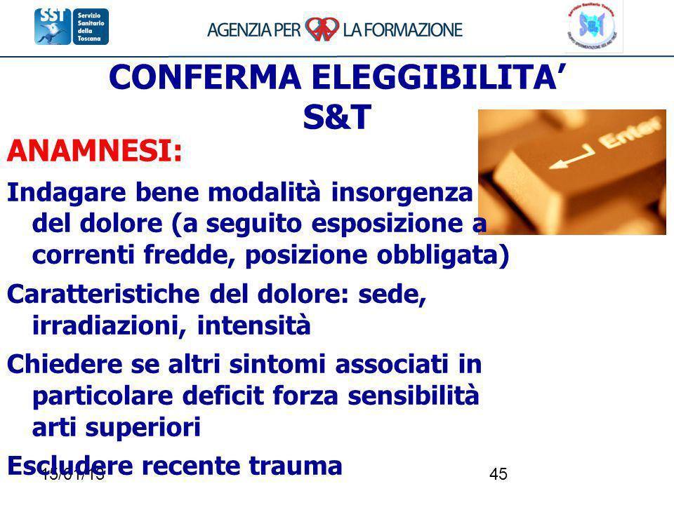 15/01/1345 CONFERMA ELEGGIBILITA S&T ANAMNESI: Indagare bene modalità insorgenza del dolore (a seguito esposizione a correnti fredde, posizione obblig