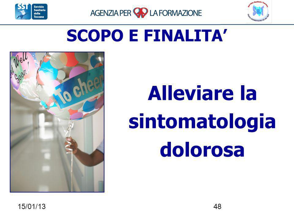 15/01/1348 SCOPO E FINALITA Alleviare la sintomatologia dolorosa