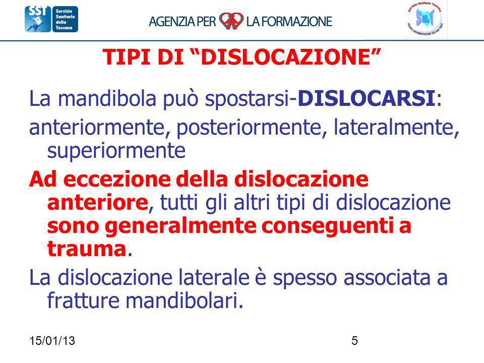 15/01/135 La mandibola può spostarsi-DISLOCARSI: anteriormente, posteriormente, lateralmente, superiormente Ad eccezione della dislocazione anteriore,