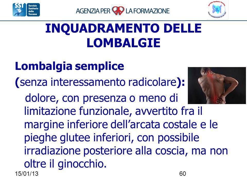 15/01/1360 INQUADRAMENTO DELLE LOMBALGIE Lombalgia semplice (senza interessamento radicolare): dolore, con presenza o meno di limitazione funzionale,