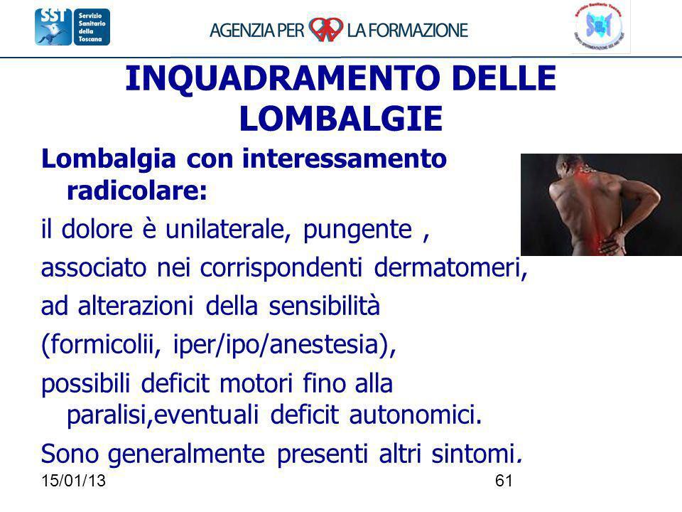 15/01/1361 INQUADRAMENTO DELLE LOMBALGIE Lombalgia con interessamento radicolare: il dolore è unilaterale, pungente, associato nei corrispondenti derm