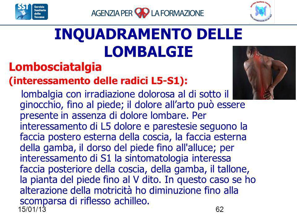 15/01/1362 INQUADRAMENTO DELLE LOMBALGIE Lombosciatalgia (interessamento delle radici L5-S1): lombalgia con irradiazione dolorosa al di sotto il ginoc