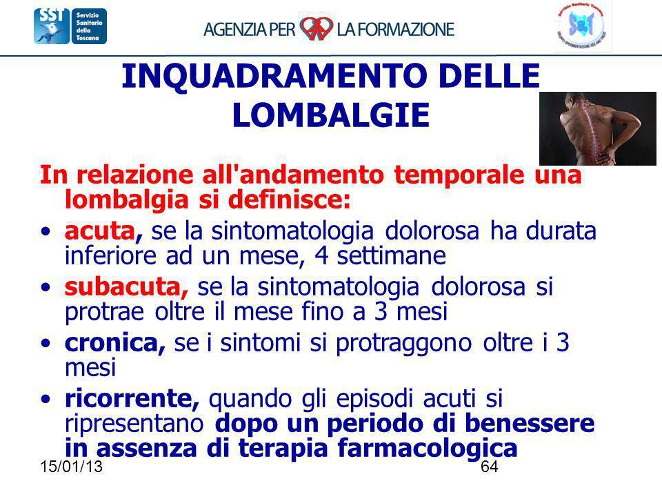 15/01/1364 INQUADRAMENTO DELLE LOMBALGIE In relazione all'andamento temporale una lombalgia si definisce: acuta, se la sintomatologia dolorosa ha dura