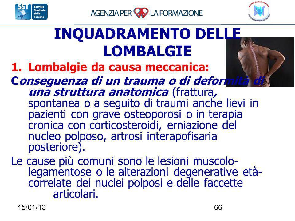 15/01/1366 INQUADRAMENTO DELLE LOMBALGIE 1.Lombalgie da causa meccanica: Conseguenza di un trauma o di deformità di una struttura anatomica (frattura,