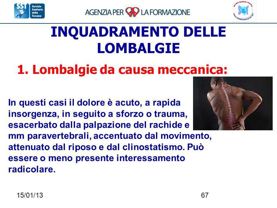 15/01/1367 INQUADRAMENTO DELLE LOMBALGIE 1. Lombalgie da causa meccanica: In questi casi il dolore è acuto, a rapida insorgenza, in seguito a sforzo o