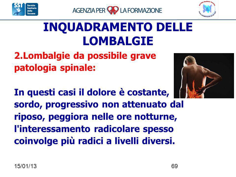 15/01/1369 INQUADRAMENTO DELLE LOMBALGIE 2.Lombalgie da possibile grave patologia spinale: In questi casi il dolore è costante, sordo, progressivo non