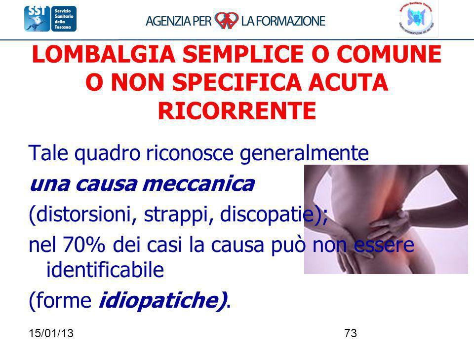 15/01/1373 LOMBALGIA SEMPLICE O COMUNE O NON SPECIFICA ACUTA RICORRENTE Tale quadro riconosce generalmente una causa meccanica (distorsioni, strappi,