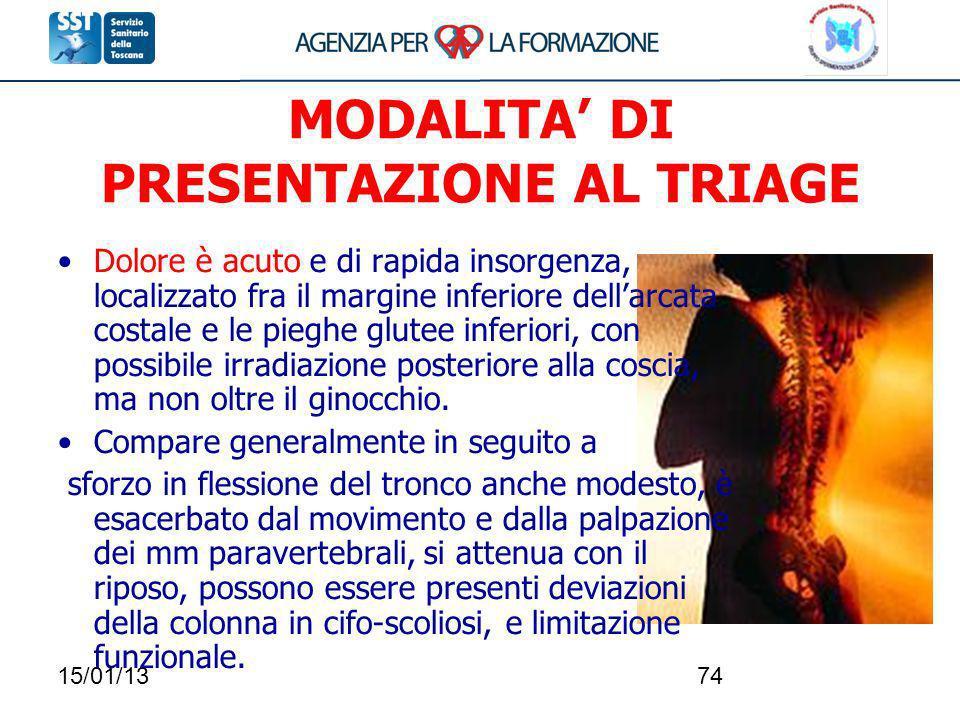 15/01/1374 MODALITA DI PRESENTAZIONE AL TRIAGE Dolore è acuto e di rapida insorgenza, localizzato fra il margine inferiore dellarcata costale e le pie