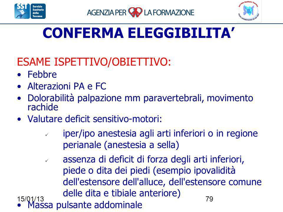 15/01/1379 CONFERMA ELEGGIBILITA ESAME ISPETTIVO/OBIETTIVO: Febbre Alterazioni PA e FC Dolorabilità palpazione mm paravertebrali, movimento rachide Va