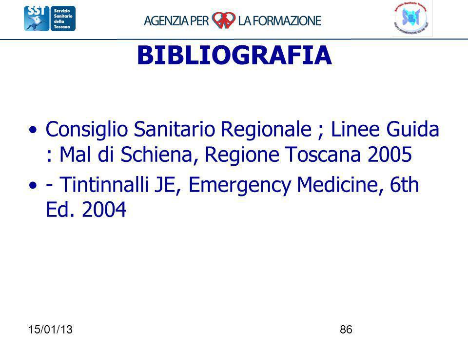 15/01/1386 BIBLIOGRAFIA Consiglio Sanitario Regionale ; Linee Guida : Mal di Schiena, Regione Toscana 2005 - Tintinnalli JE, Emergency Medicine, 6th E