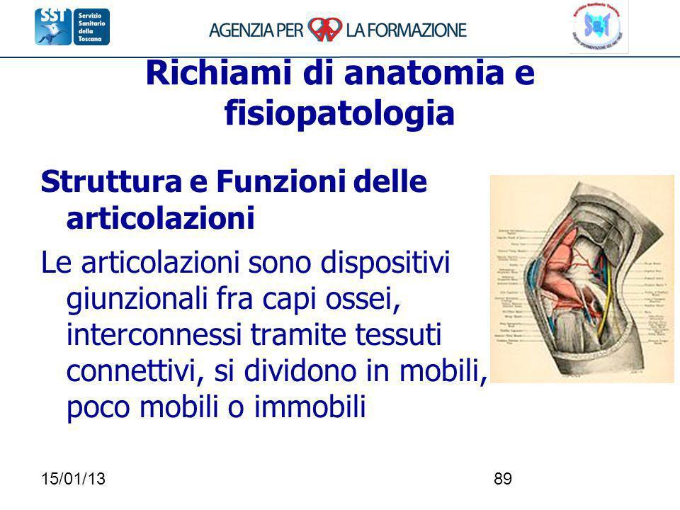 15/01/1389 Richiami di anatomia e fisiopatologia Struttura e Funzioni delle articolazioni Le articolazioni sono dispositivi giunzionali fra capi ossei