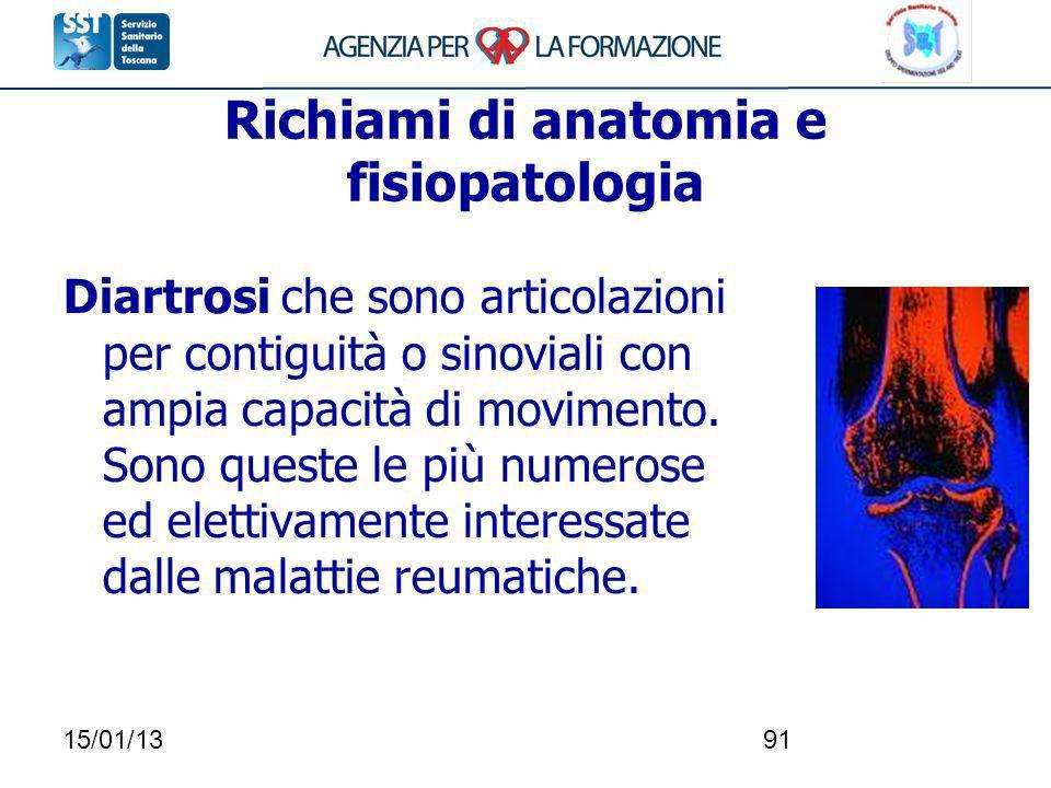 15/01/1391 Richiami di anatomia e fisiopatologia Diartrosi che sono articolazioni per contiguità o sinoviali con ampia capacità di movimento. Sono que