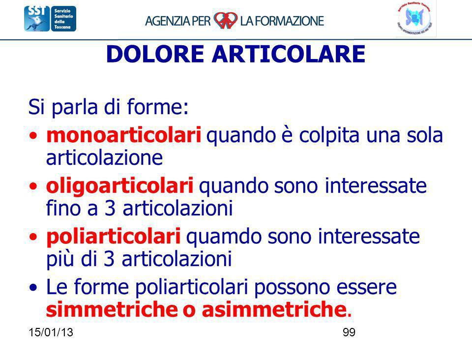 15/01/1399 DOLORE ARTICOLARE Si parla di forme: monoarticolari quando è colpita una sola articolazione oligoarticolari quando sono interessate fino a