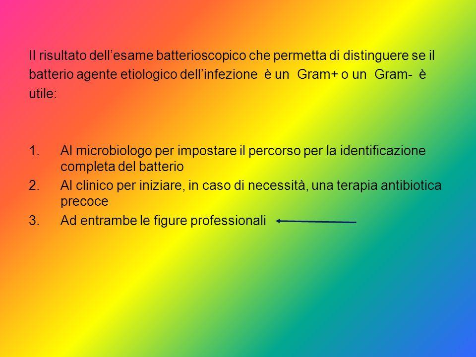 Il risultato dellesame batterioscopico che permetta di distinguere se il batterio agente etiologico dellinfezione è un Gram+ o un Gram- è utile: 1.Al
