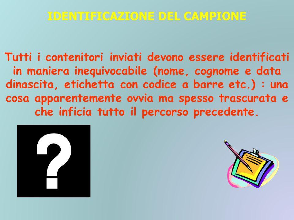 IDENTIFICAZIONE DEL CAMPIONE Tutti i contenitori inviati devono essere identificati in maniera inequivocabile (nome, cognome e data dinascita, etichet