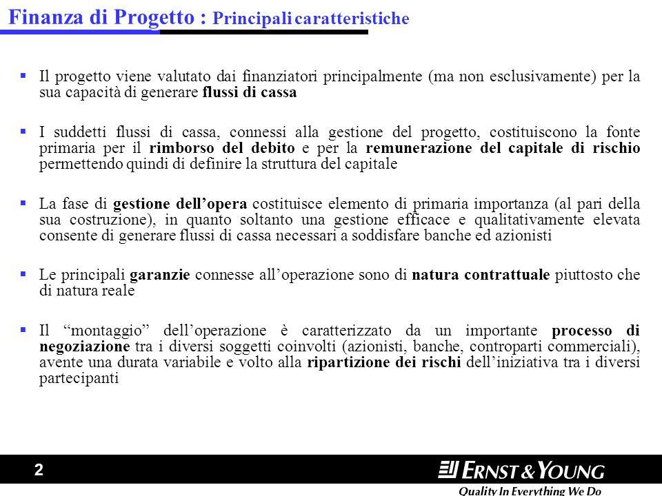 2 Finanza di Progetto : Principali caratteristiche Il progetto viene valutato dai finanziatori principalmente (ma non esclusivamente) per la sua capac