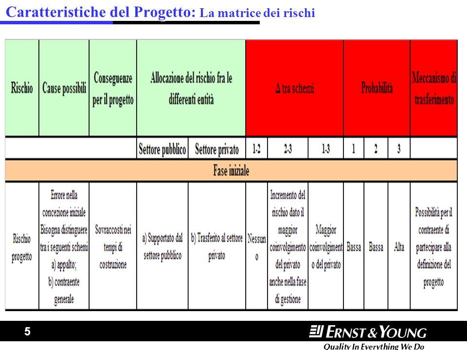 5 Caratteristiche del Progetto: La matrice dei rischi
