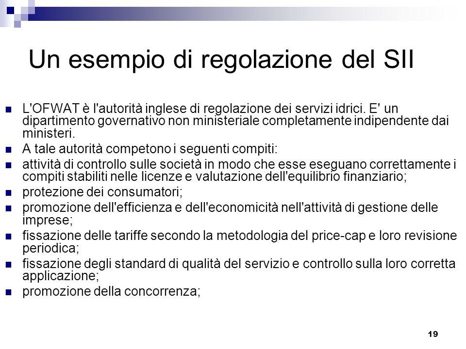 19 Un esempio di regolazione del SII L OFWAT è l autorità inglese di regolazione dei servizi idrici.
